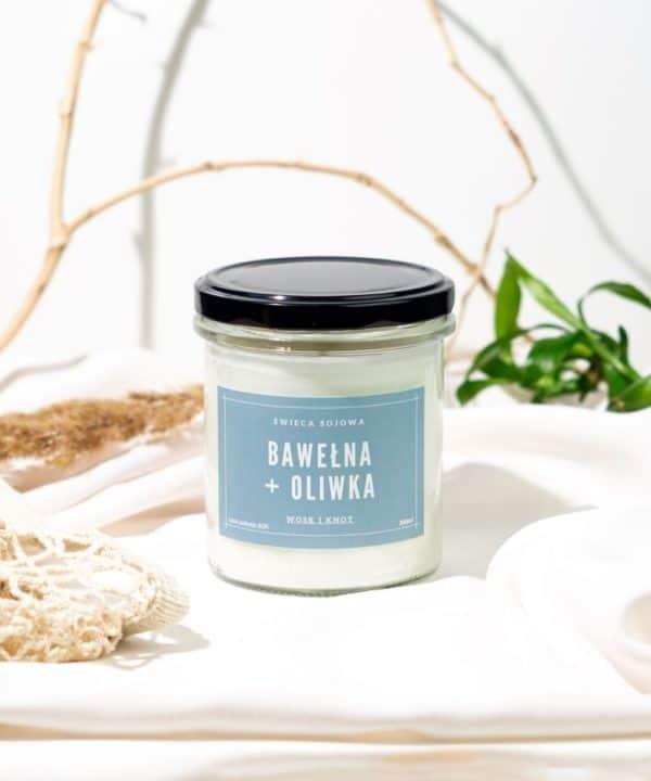 świeca zapachowa bawełna oliwka