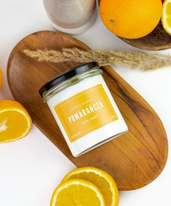 świeca zapachowa pomarańcza w słoiku wosk sojowy