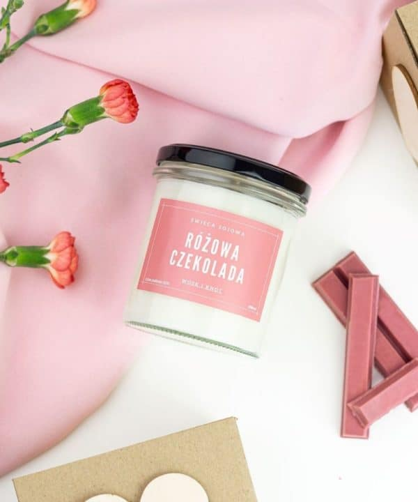 świeca zapachowa różowa czekolada